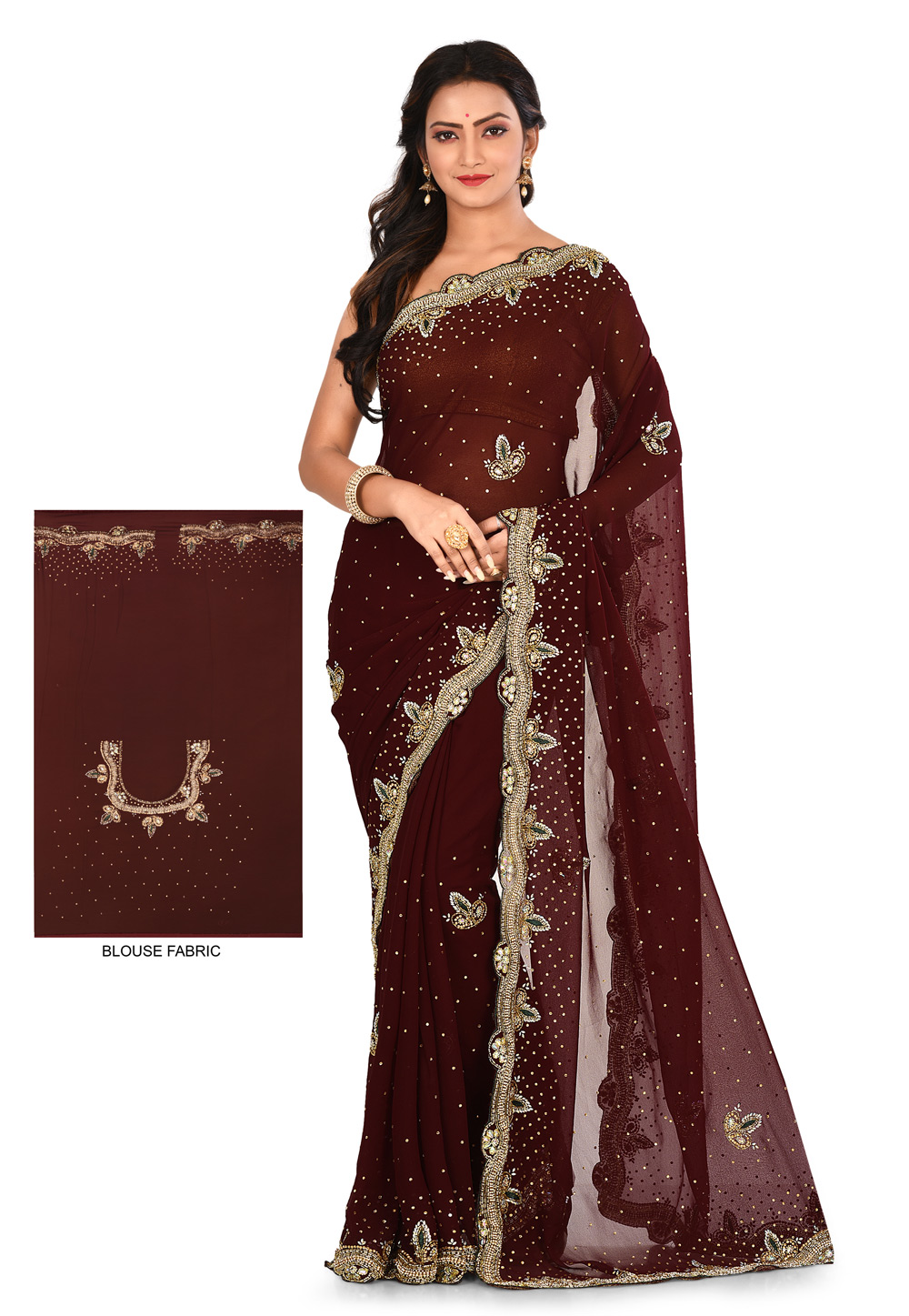Brown Georgette Hand Work Saree With Blouse 180183