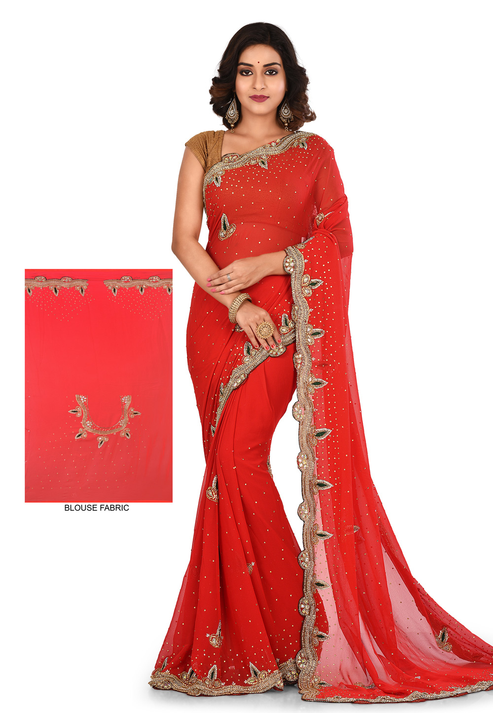 Red Georgette Hand Work Festival Wear Saree 180188