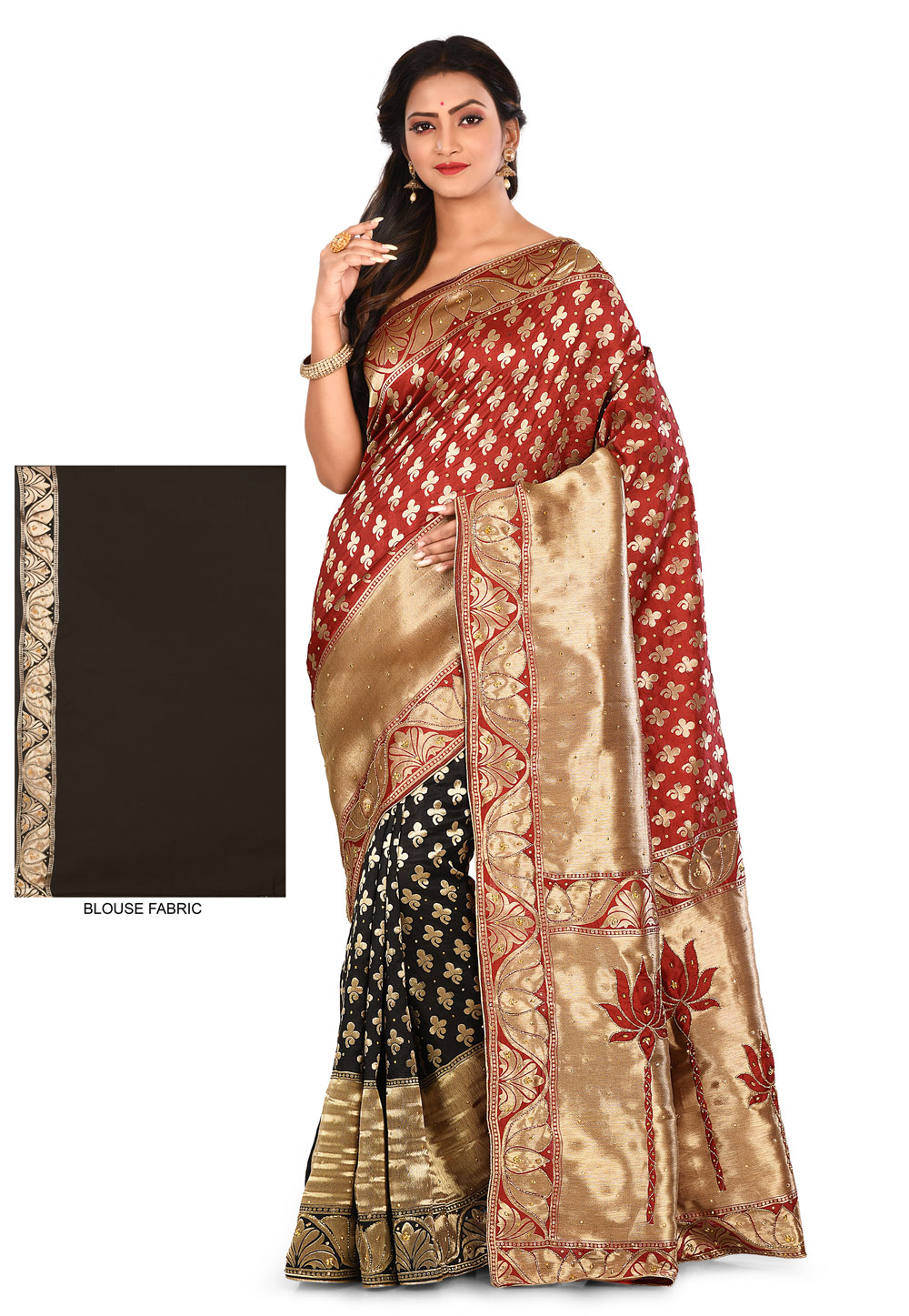 Rust Art Silk Saree With Blouse 180193