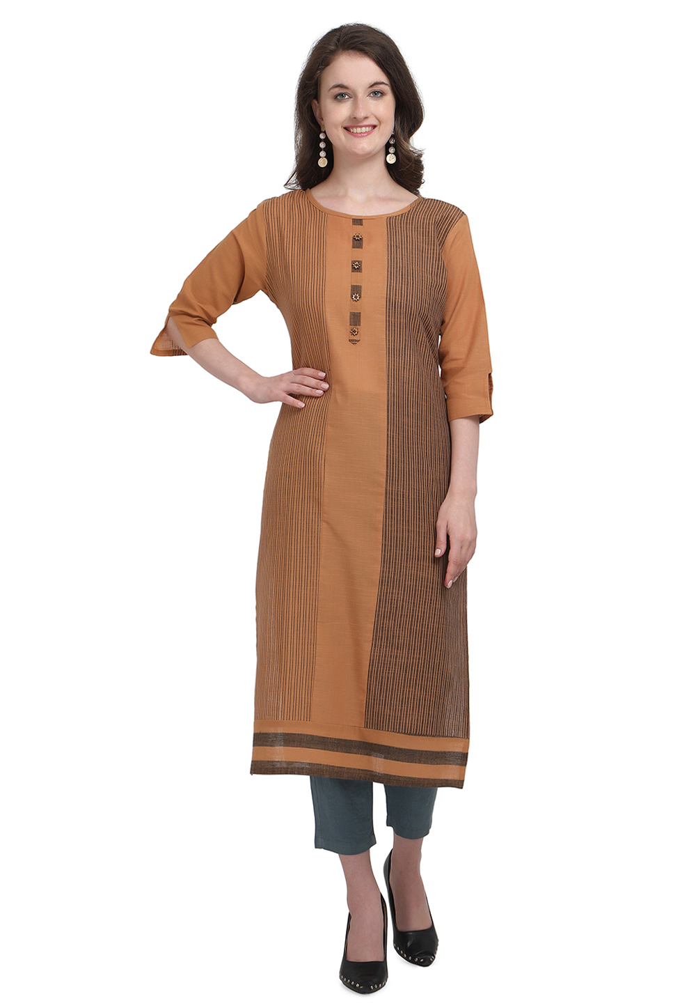 Brown Cotton Readymade Tunic 214105