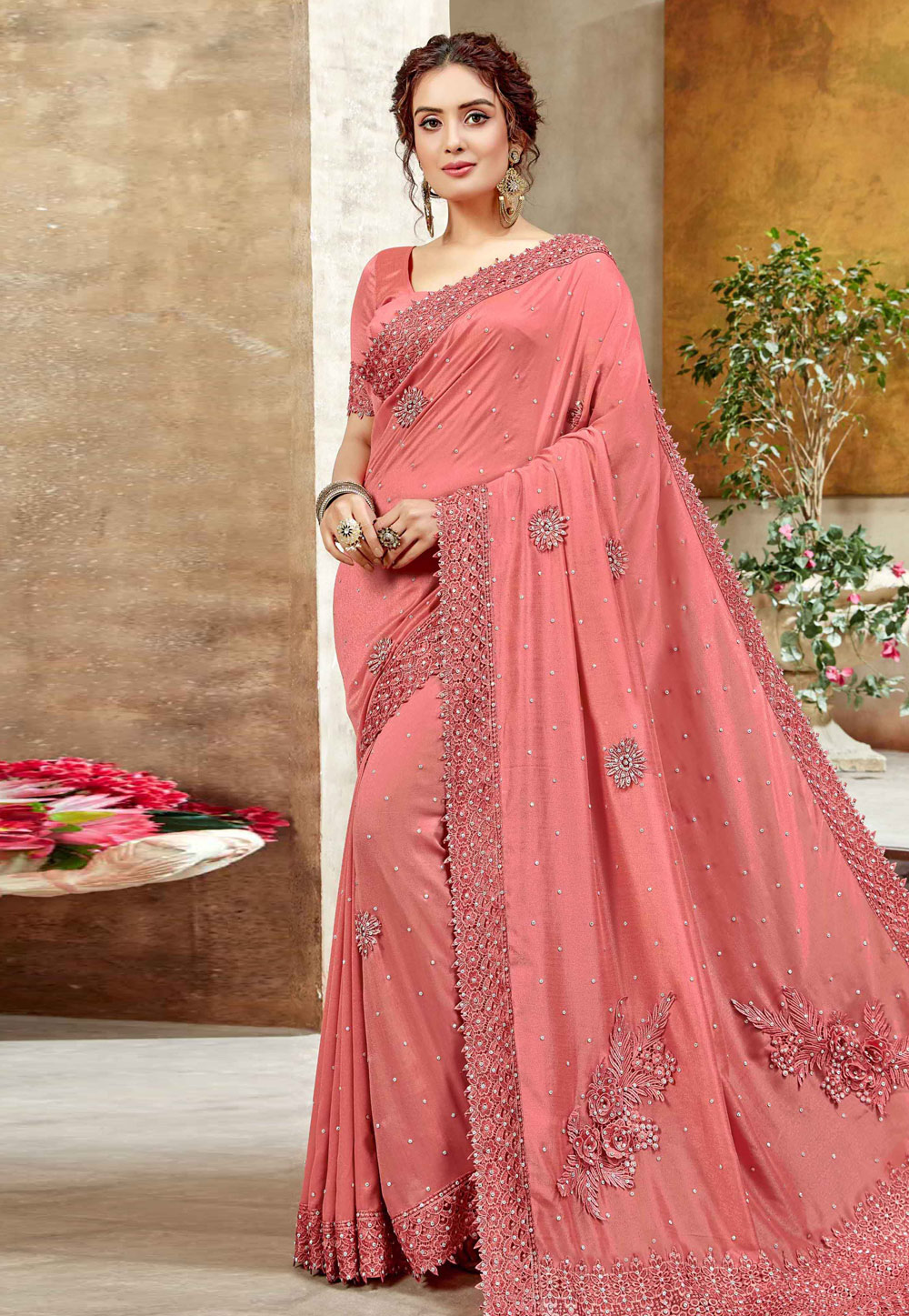Shaded Pink Silk Saree With Blouse 206299