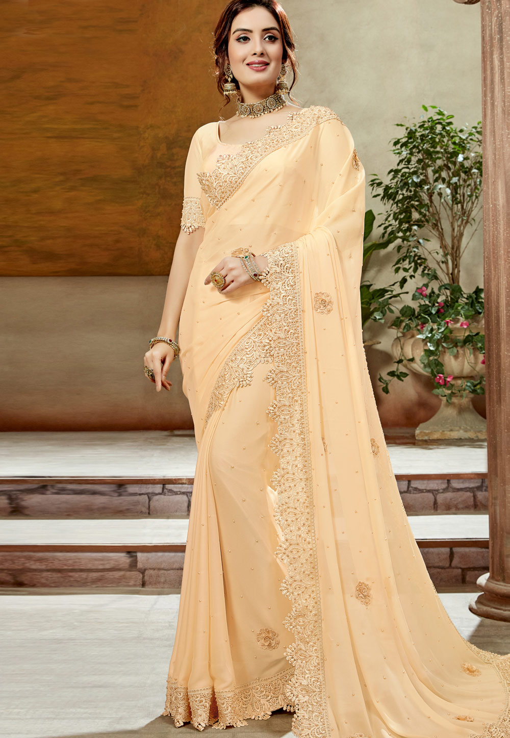 Beige Georgette Saree With Blouse 198323