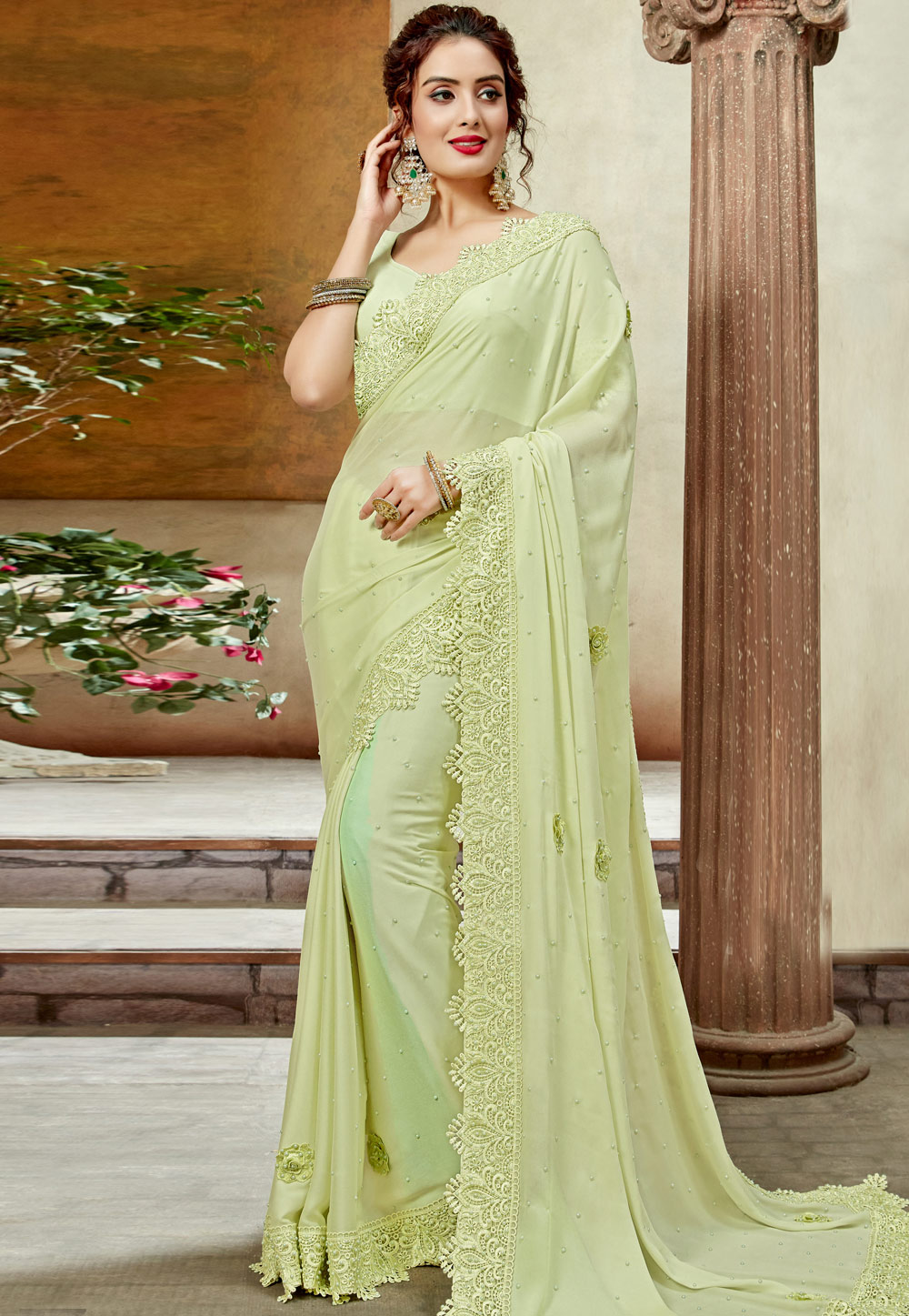 Light Green Georgette Festival Wear Saree 198324
