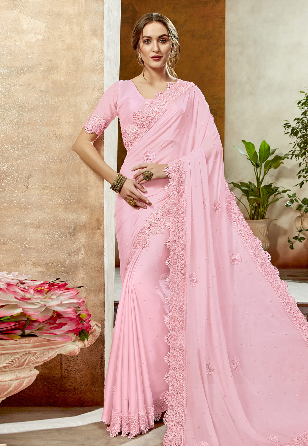 Pink Georgette Saree With Blouse 198325