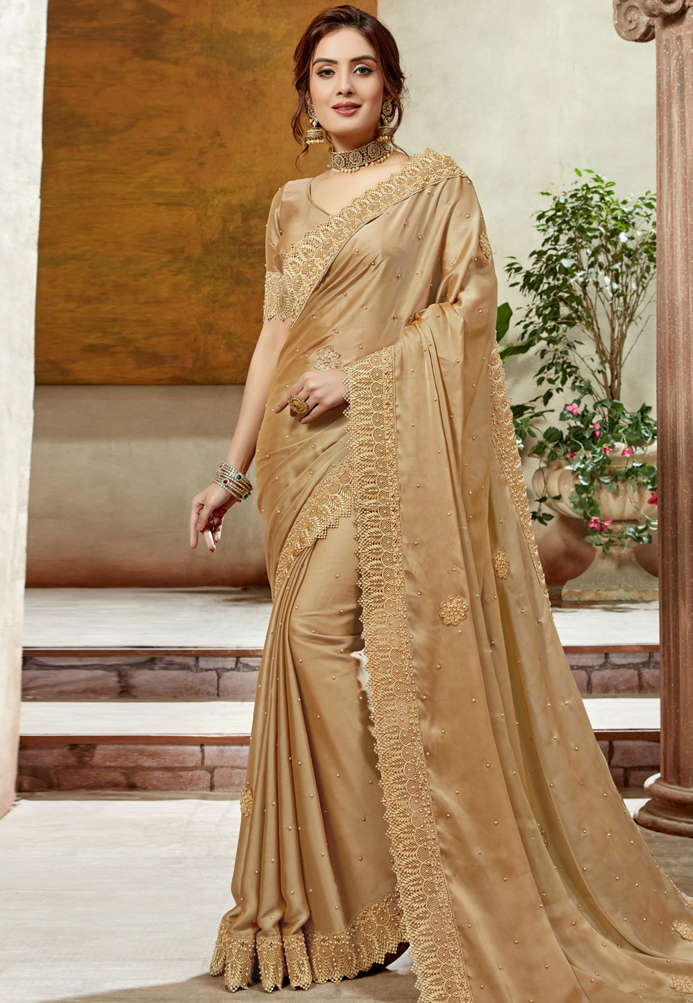 Golden Satin Silk Festival Wear Saree 198326