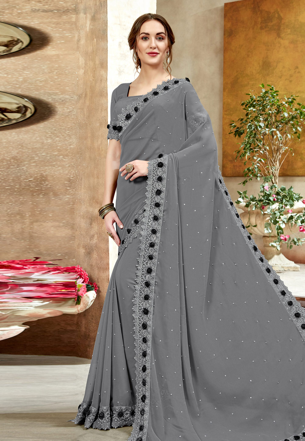 Grey Georgette Saree With Blouse 198329