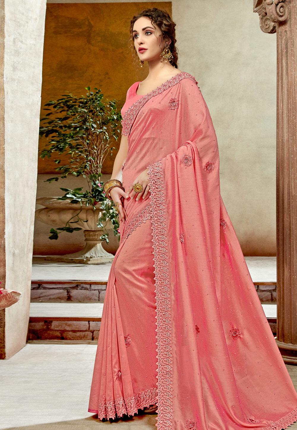Pink Georgette Saree With Blouse 198333