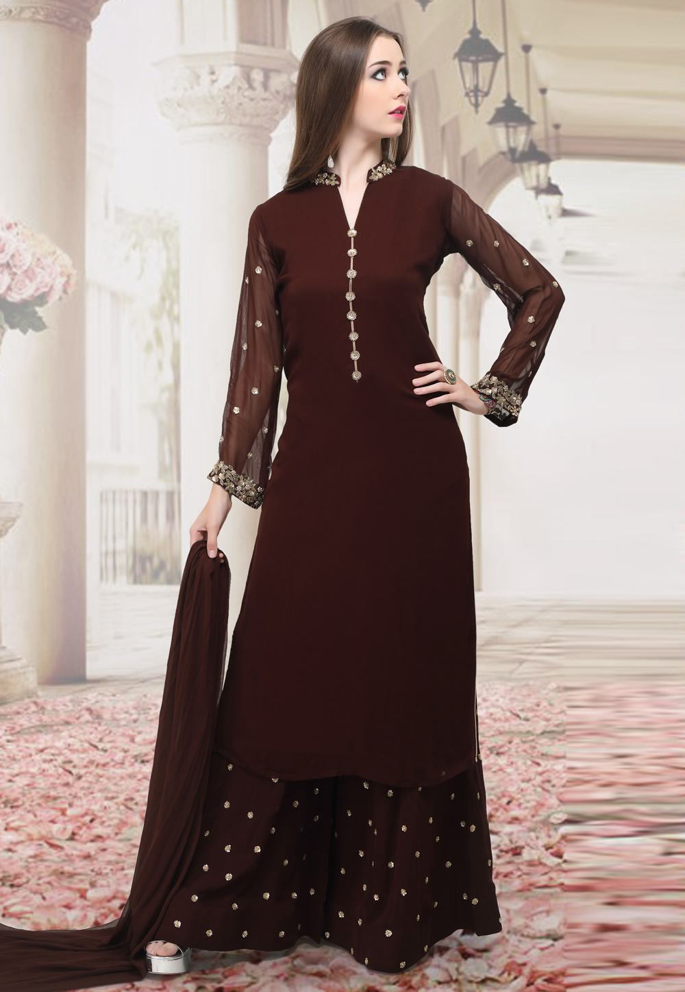 Brown Georgette Readymade Kameez With Palazzo 198335