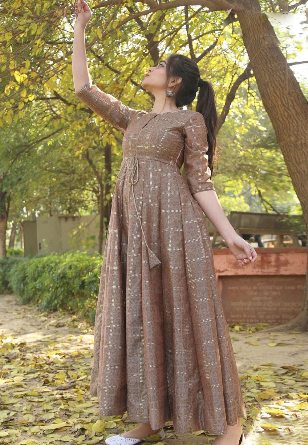 Brown Chanderi Readymade Gown 216040