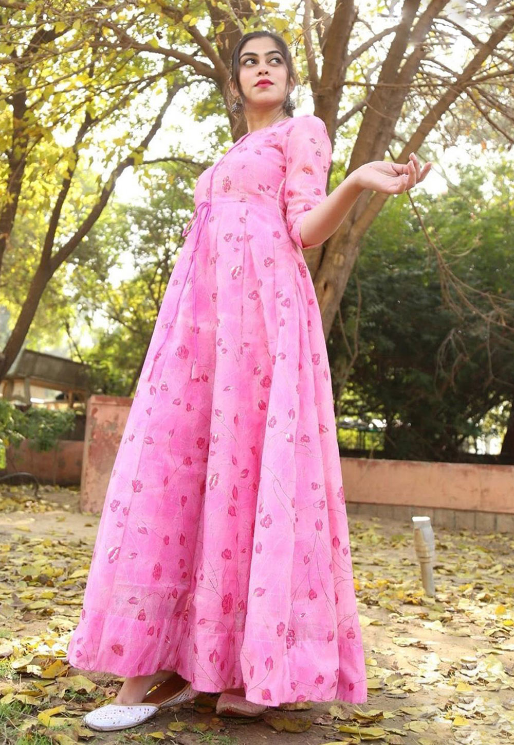 Pink Chanderi Readymade Printed Gown 216041