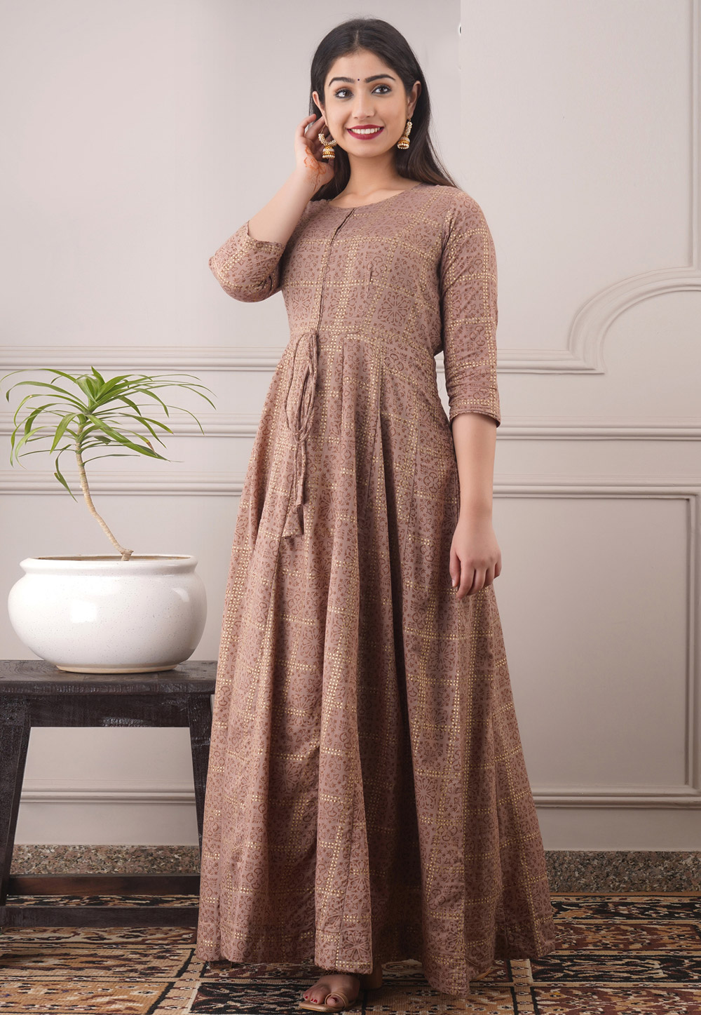 Brown Chanderi Readymade Gown 213181