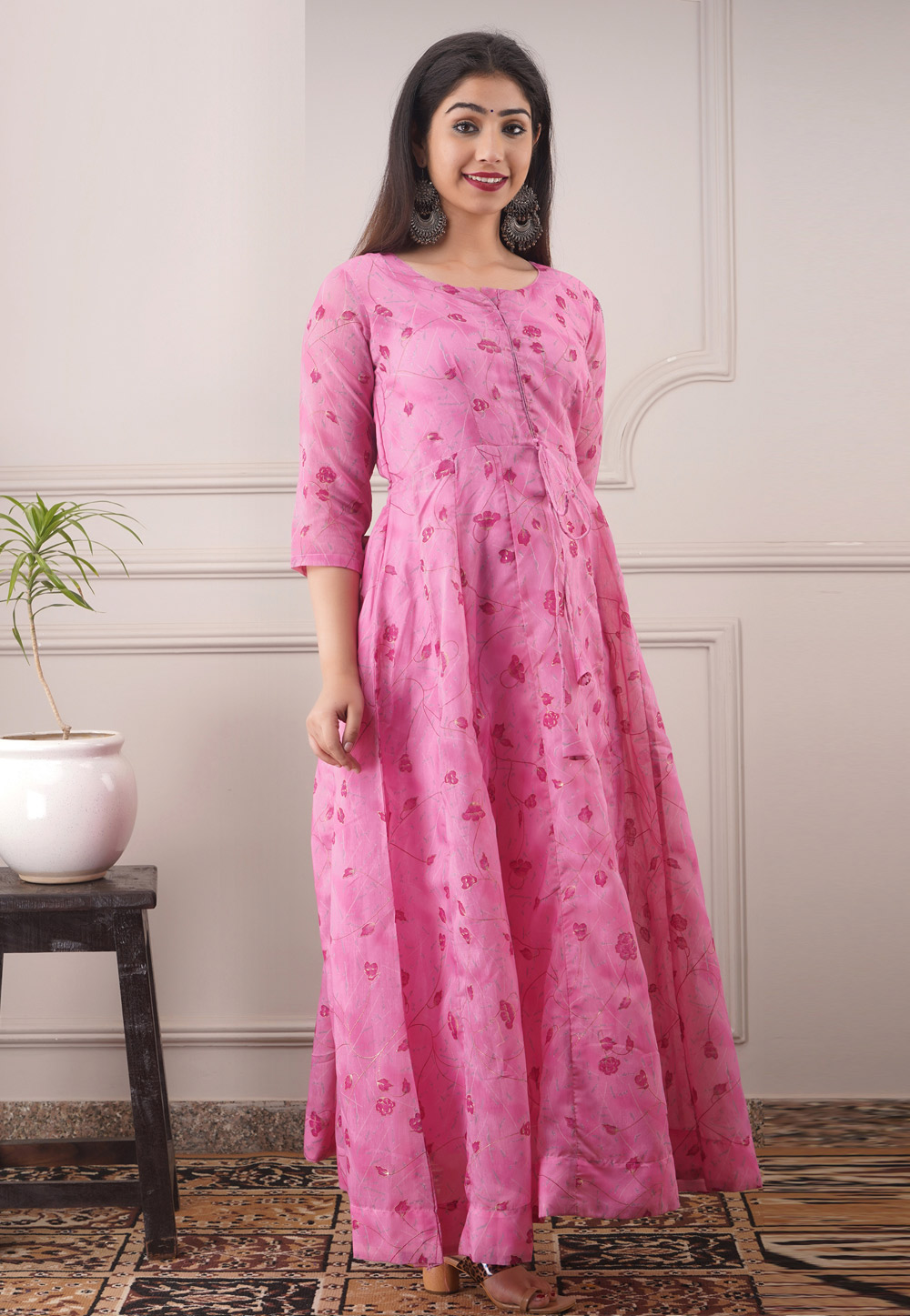 Pink Chanderi Readymade Gown 213182