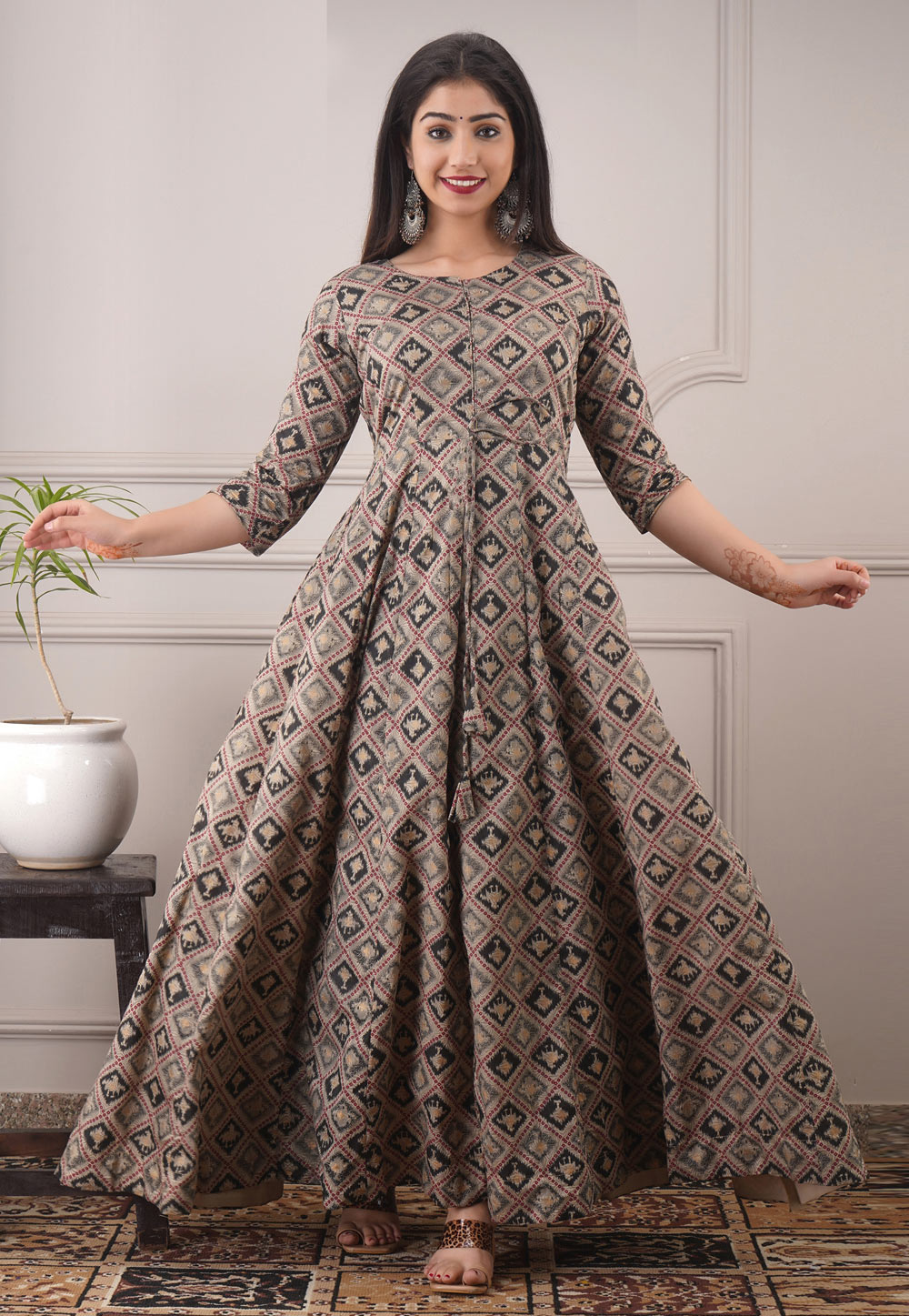 Brown Chanderi Readymade Gown 213183