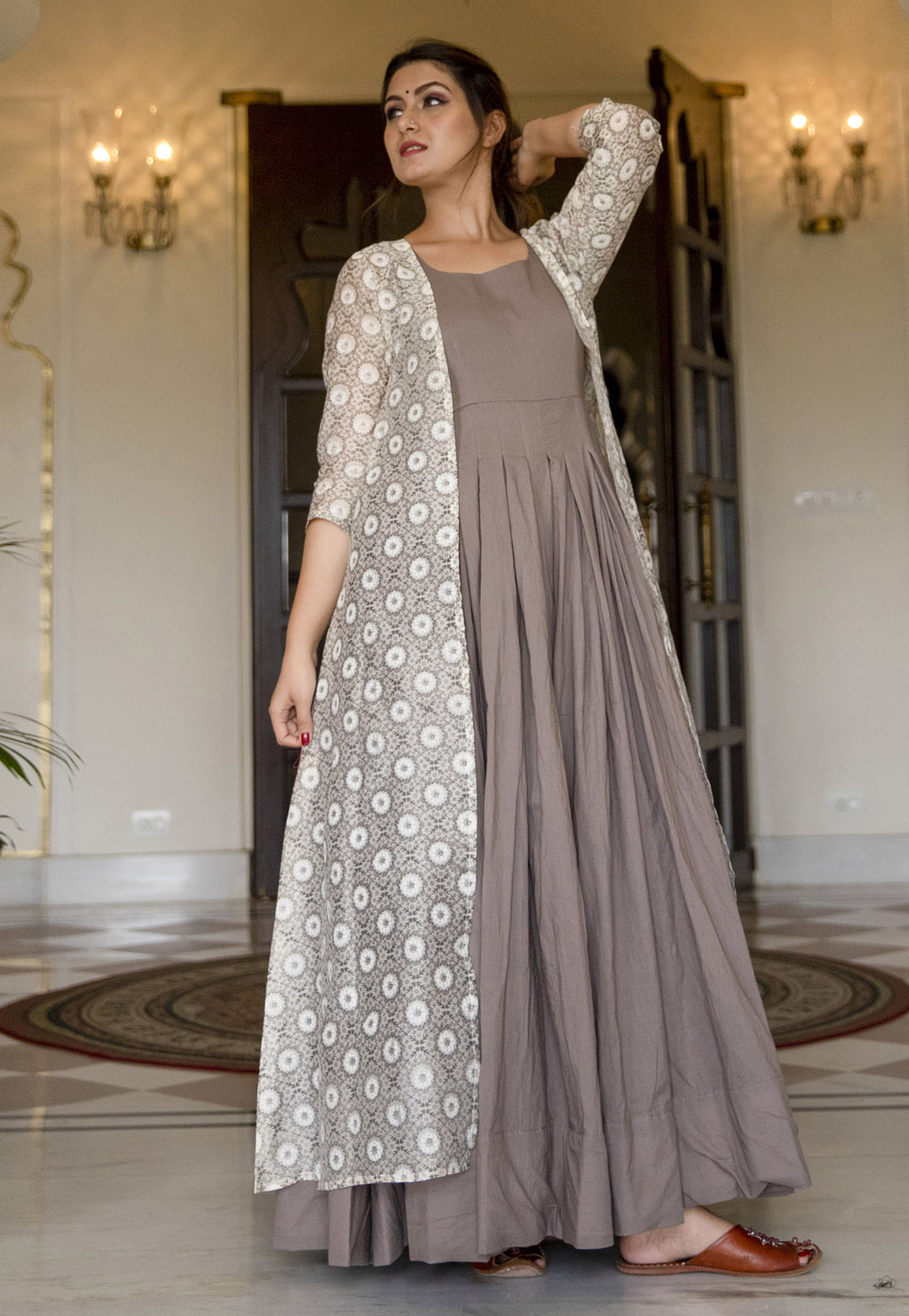 Grey Muslin Gown With Printed Jacket 219338