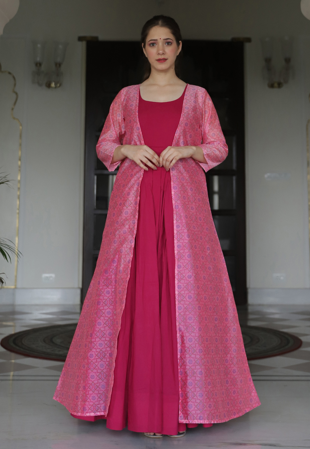 Magenta Muslin Gown With Printed Jacket 219340