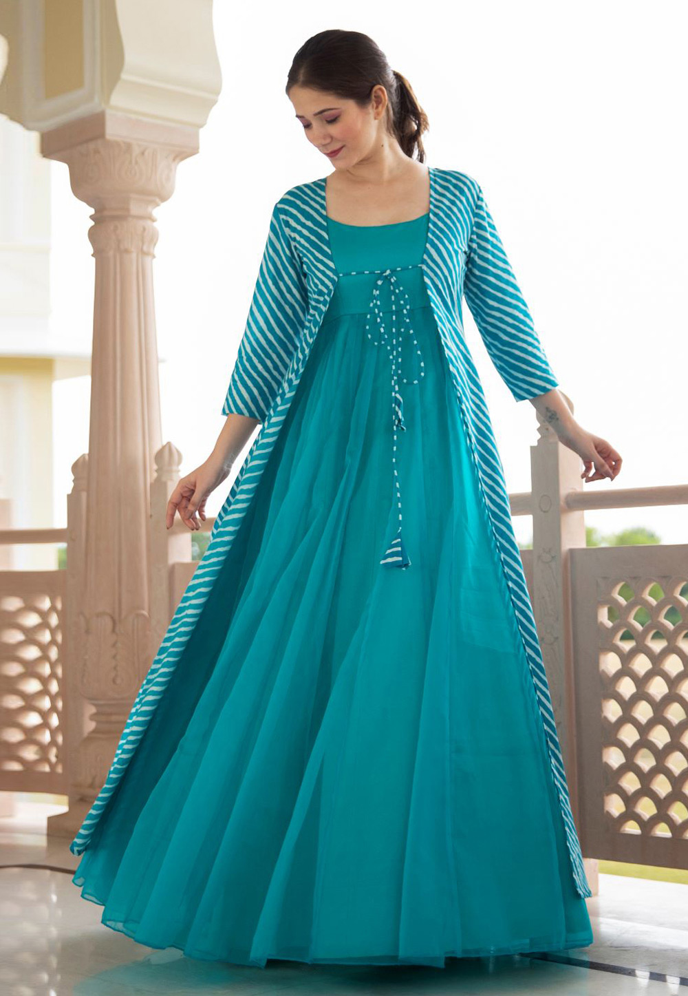 Turquoise Georgette Gown With Jacket 219341