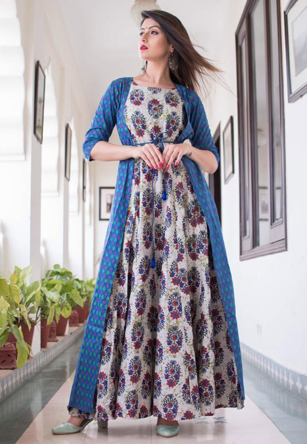 Blue Muslin Readymade Gown With Jacket 163082