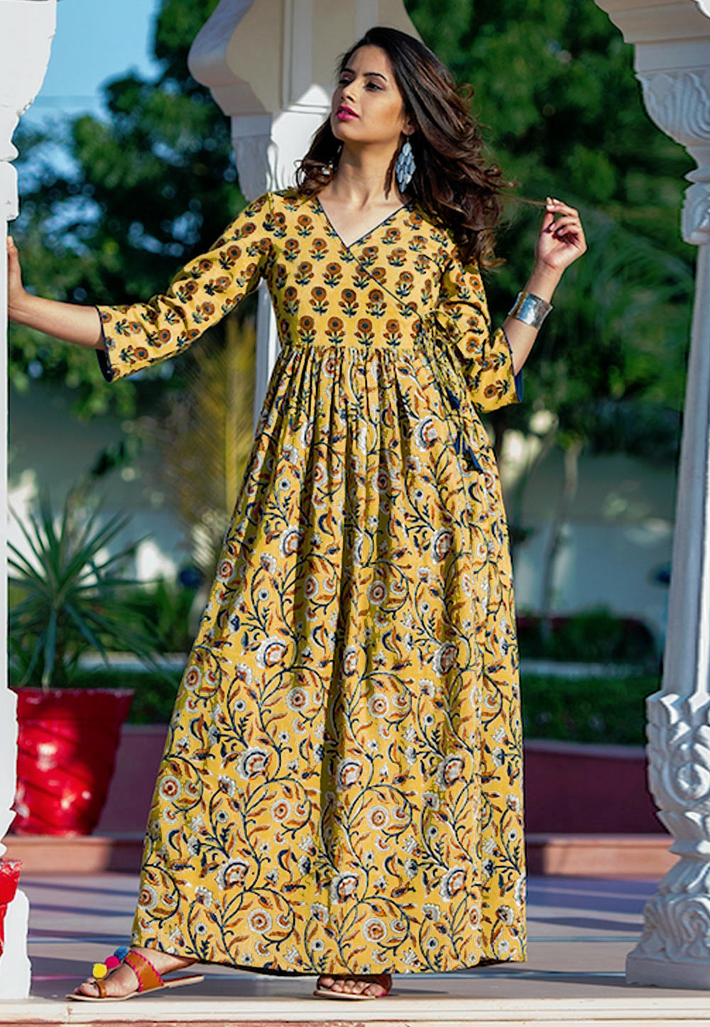Yellow Muslin Readymade Printed Gown 172880