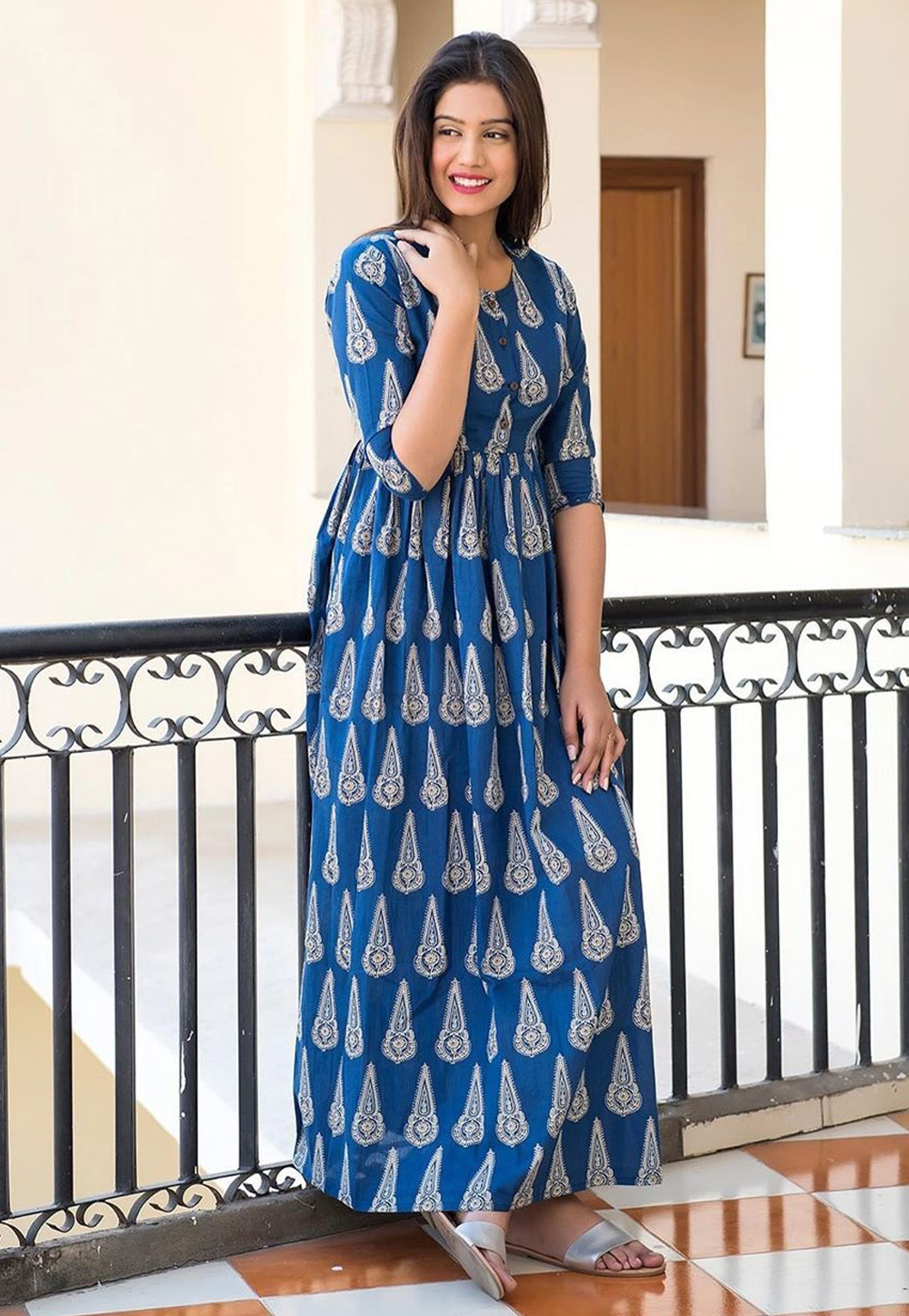 Blue Muslin Readymade Printed Gown 181140