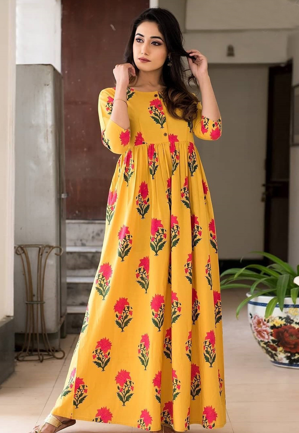 Yellow Muslin Readymade Printed Gown 181142