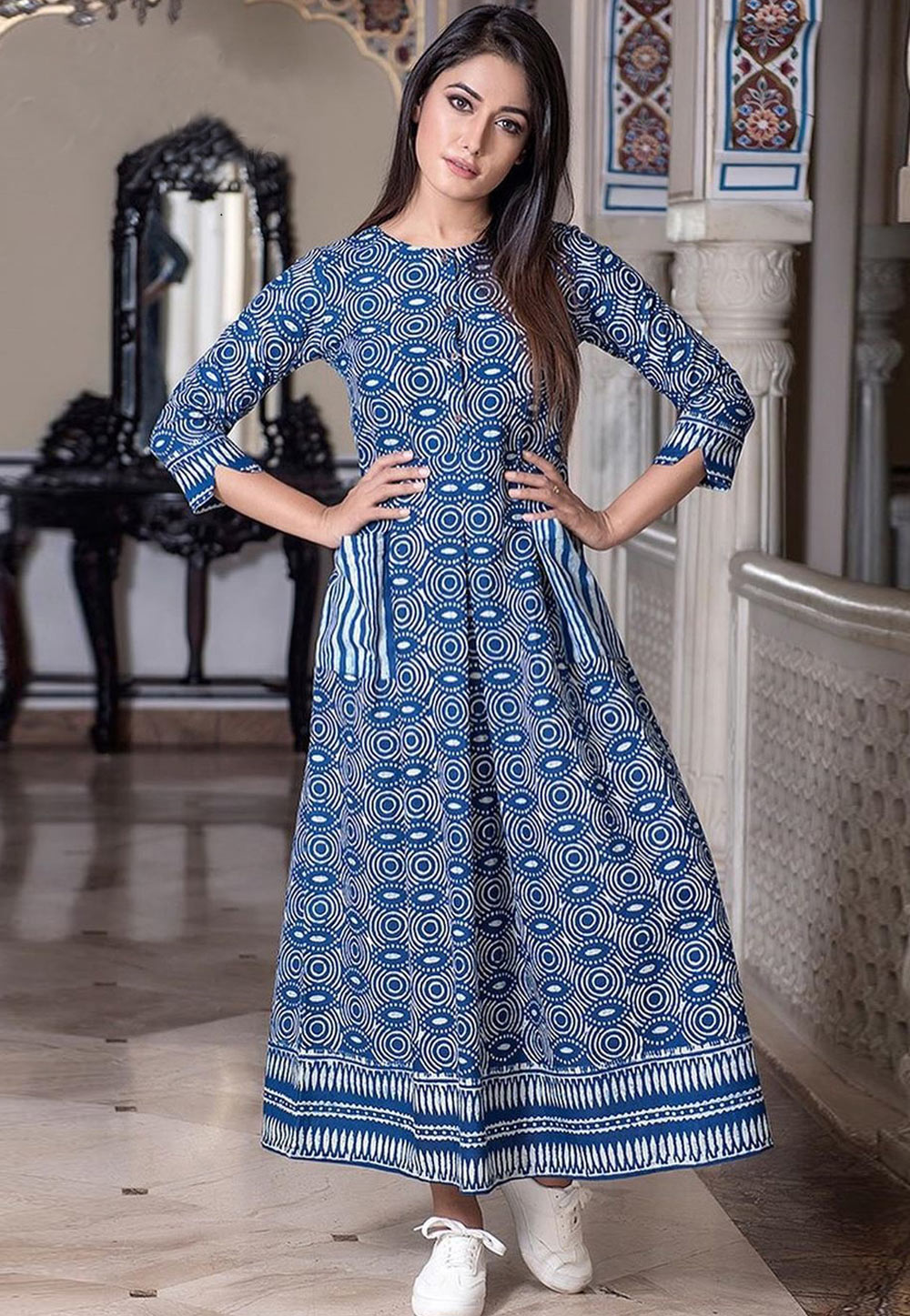 Blue Muslin Readymade Printed Gown 181143
