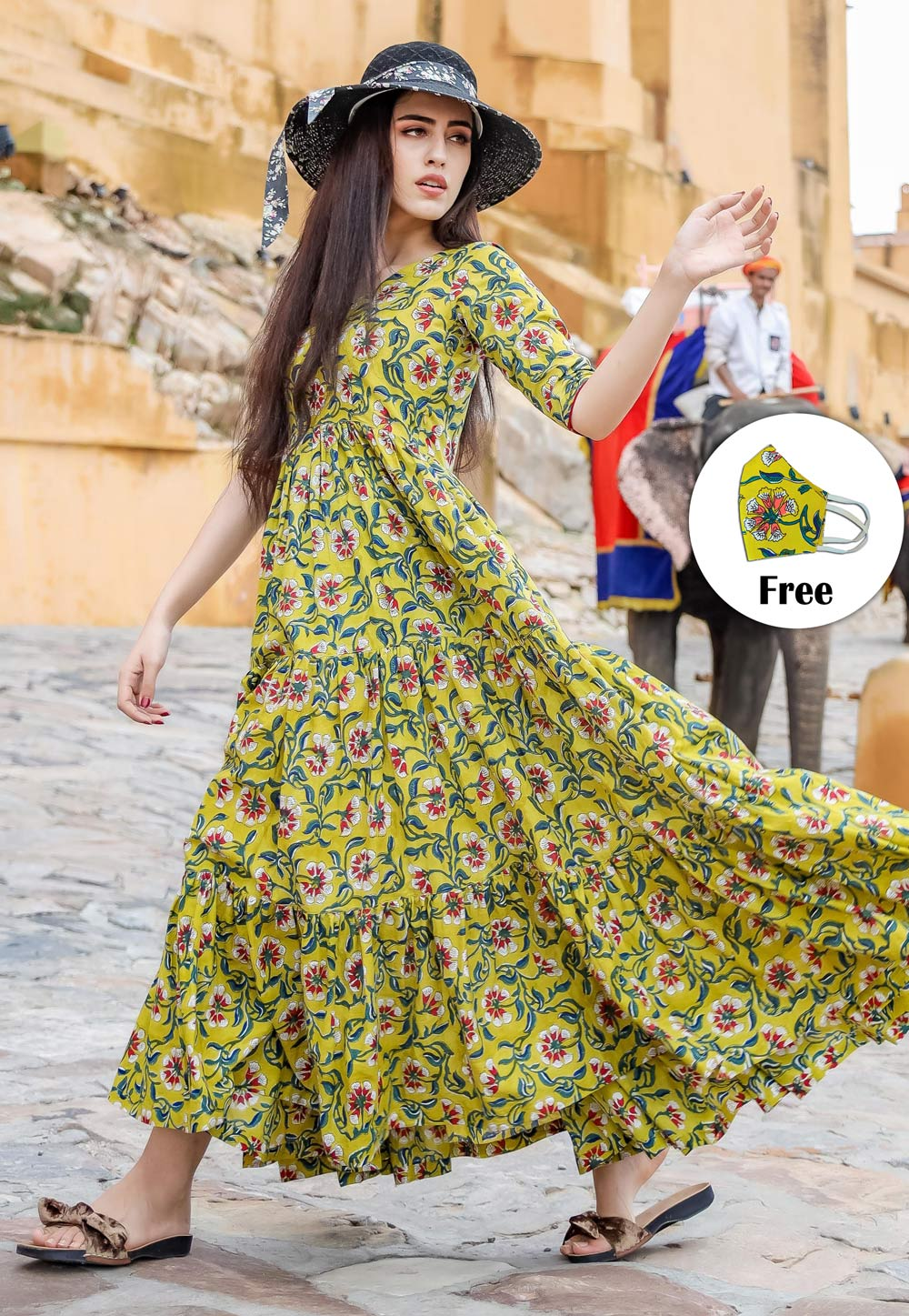 Green Muslin Readymade Printed Gown 201999