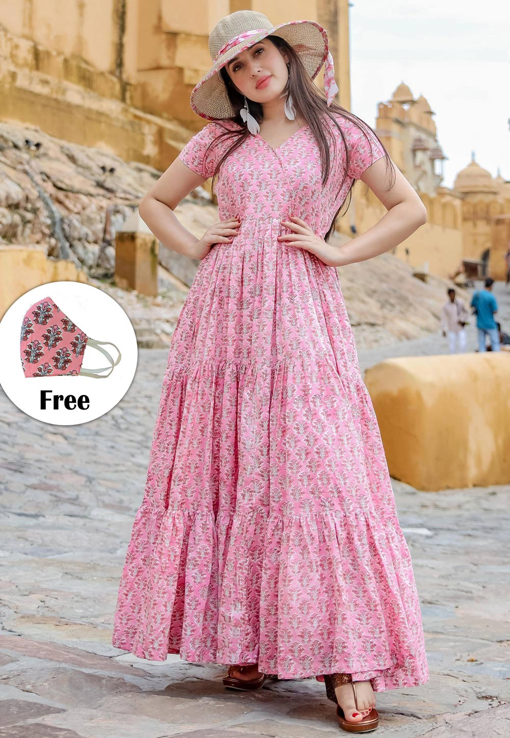 Pink Muslin Readymade Printed Gown 202001