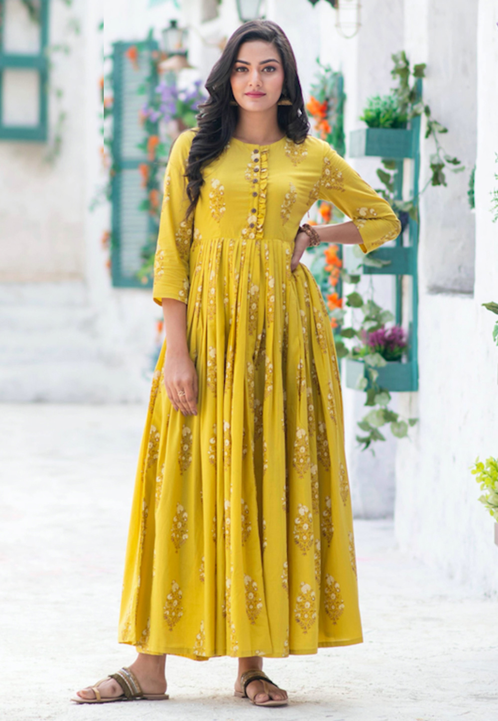 Yellow Muslin Readymade Flared Gown 209183