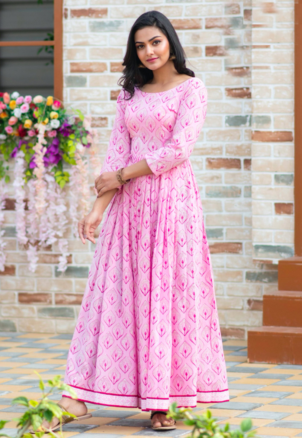 Light Pink Muslin Readymade Printed Gown 209185