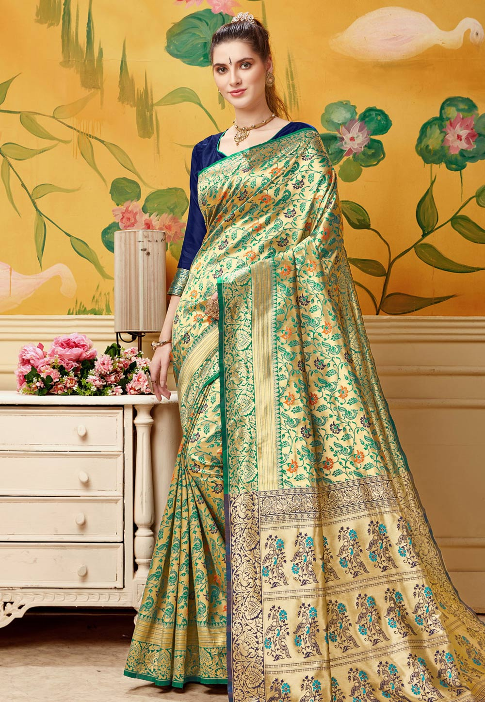 Green Jacquard Festival Wear Saree 192775