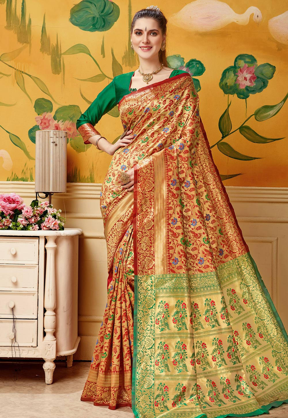 Red Jacquard Saree With Blouse 192778