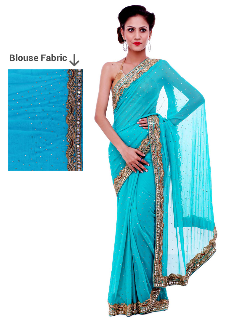 Sky Blue Georgette Mirror Work Saree 91425