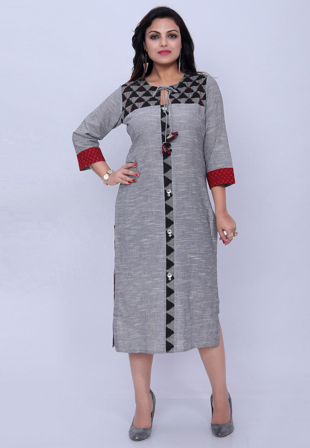 Grey Cotton Readymade Kurti 208806