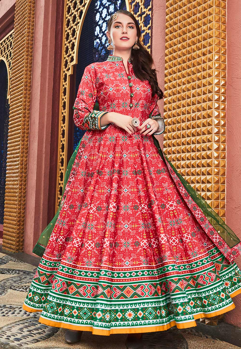 Red Silk Readymade Long Anarkali Suit 195330