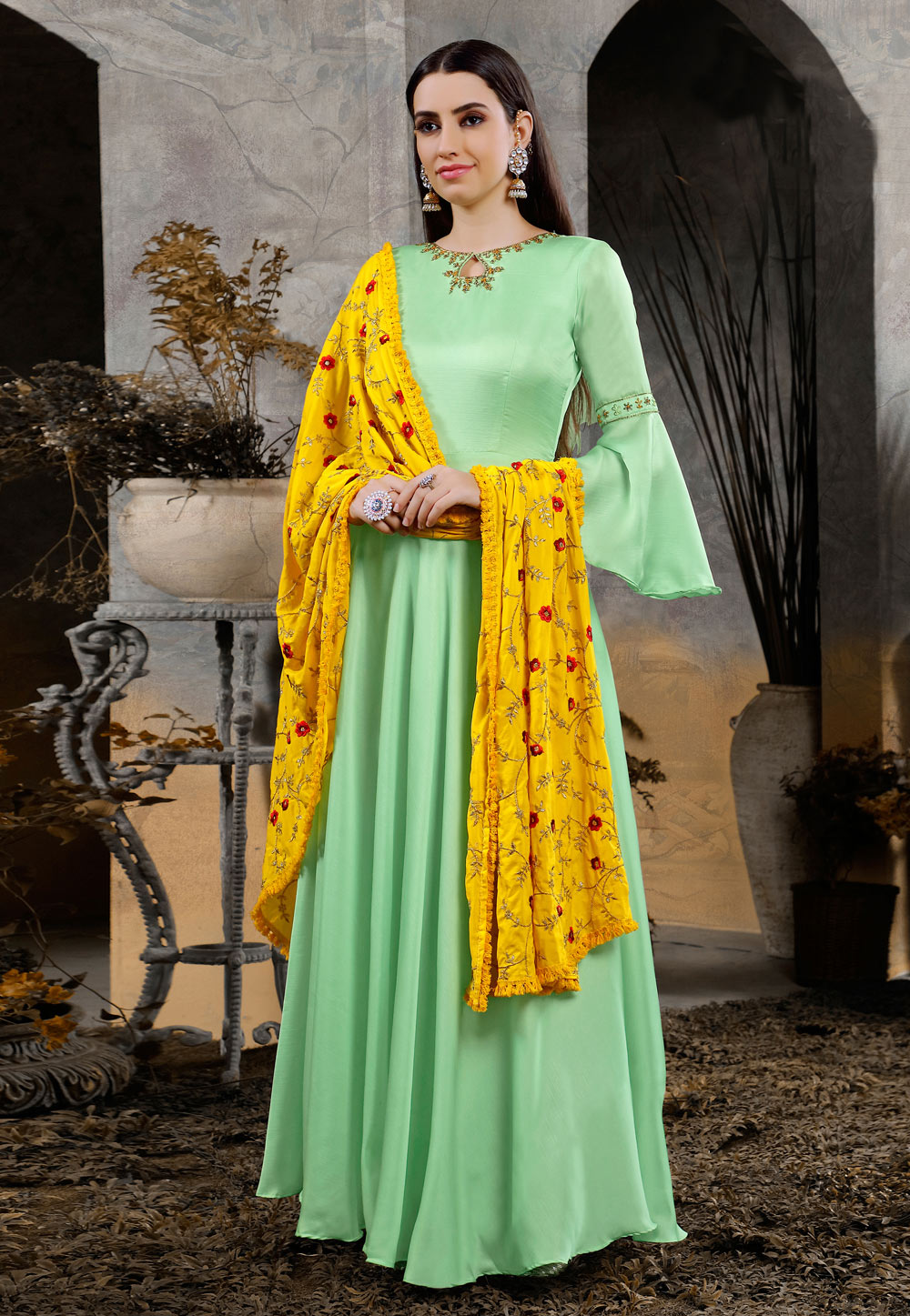 Light Green Cotton Readymade Ankle Length Anarkali Suit With Frill Sleeve 176411
