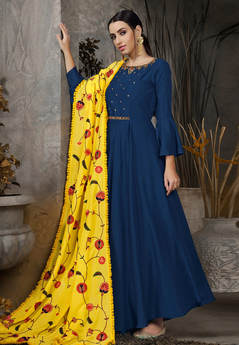Navy Blue Cotton Readymade Abaya Style Anarkali Suit With Frill Sleeve 176412