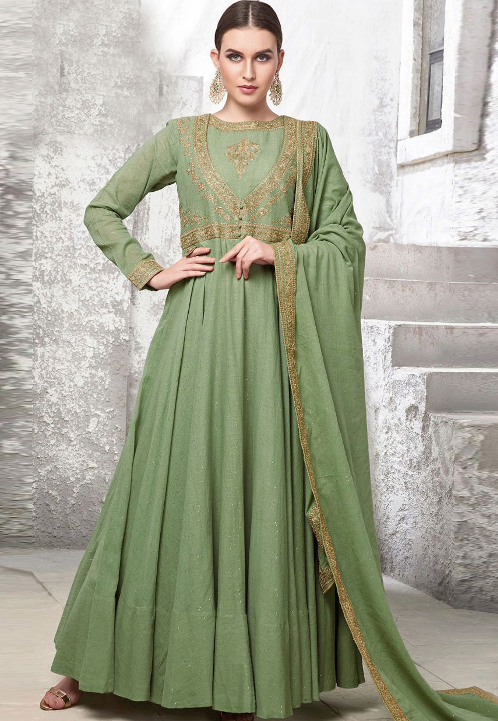 Green Cotton Readymade Ankle Length Anarkali Suit 179912