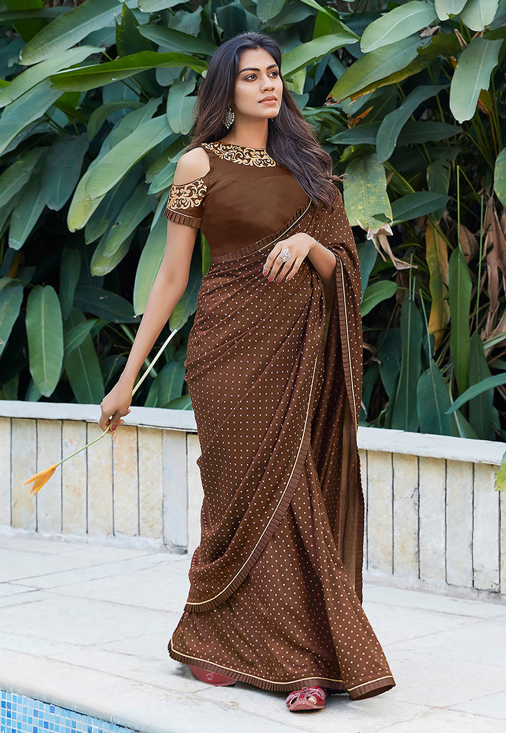 Brown Cotton Festival Wear Saree 209079