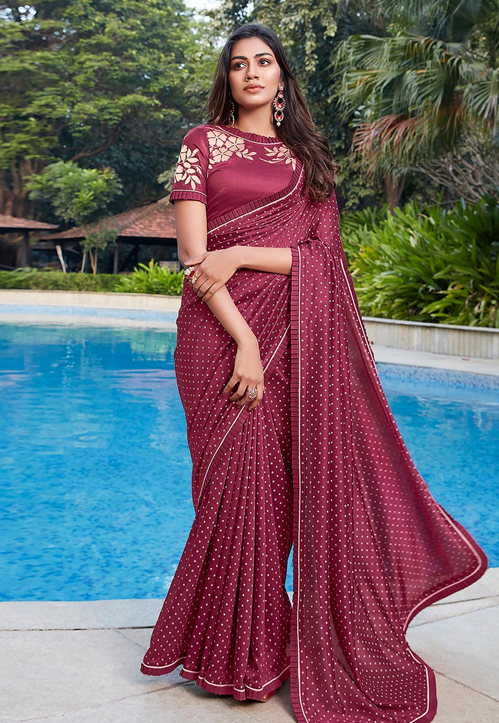 Wine Cotton Saree With Blouse 209080