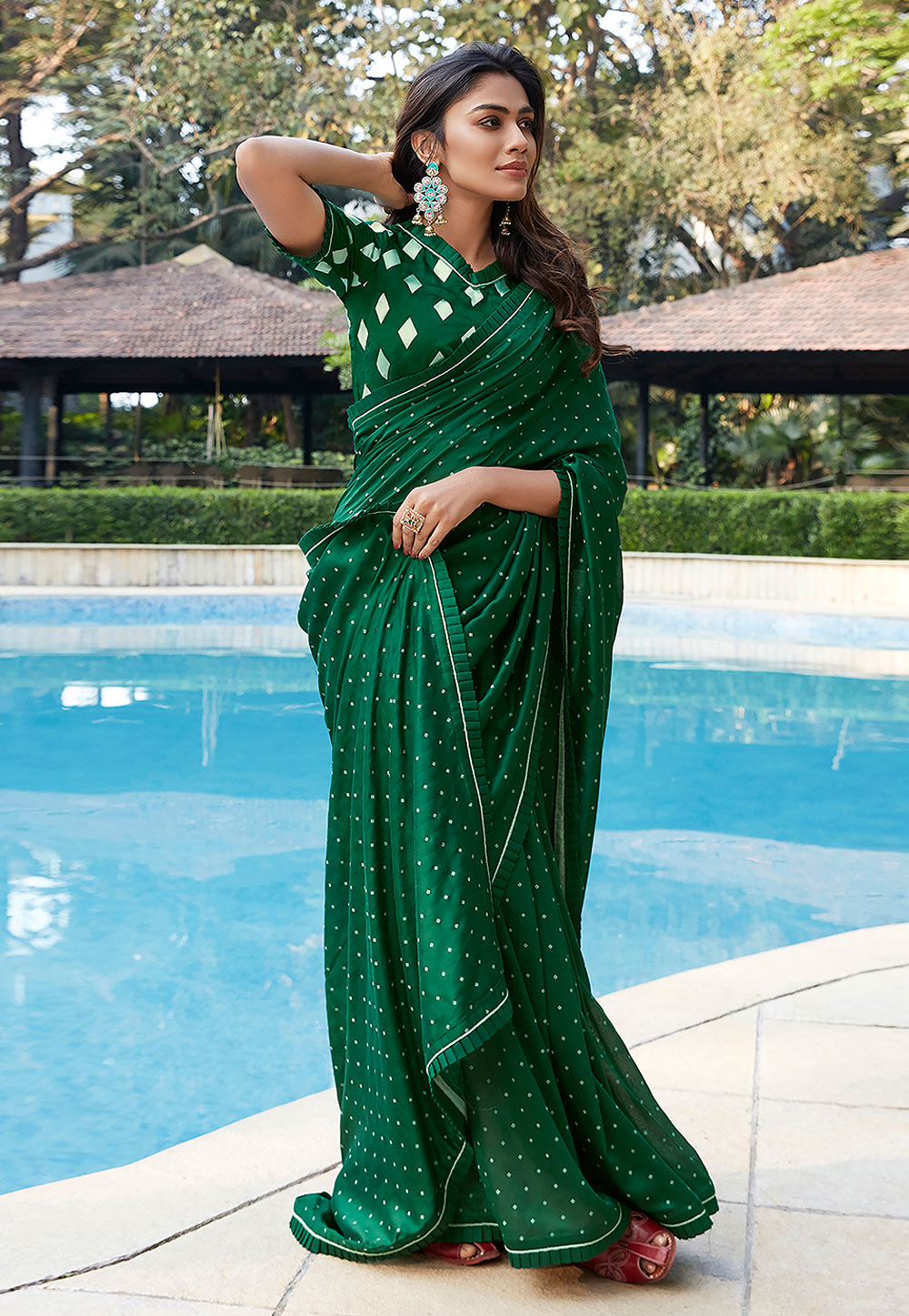 Green Cotton Saree With Blouse 209082