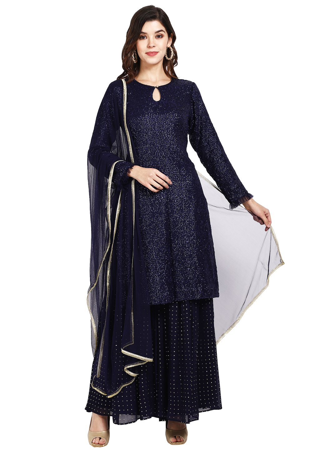 Navy Blue Georgette Readymade Sharara Suit 200276