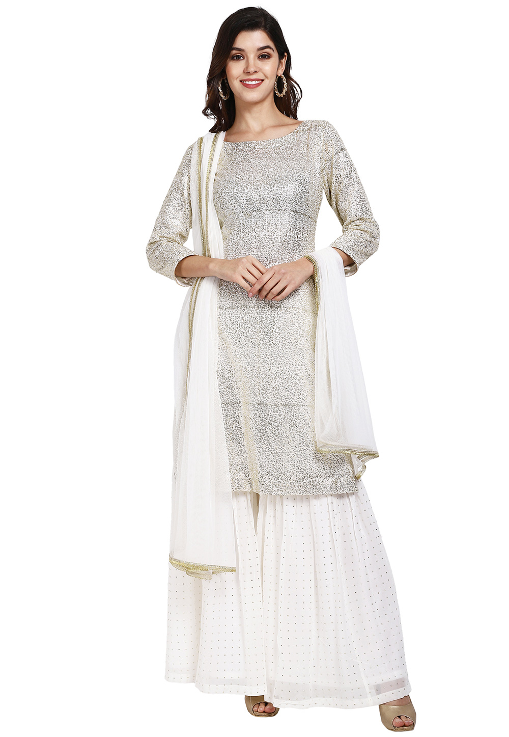 White Georgette Readymade Sharara Suit 200278