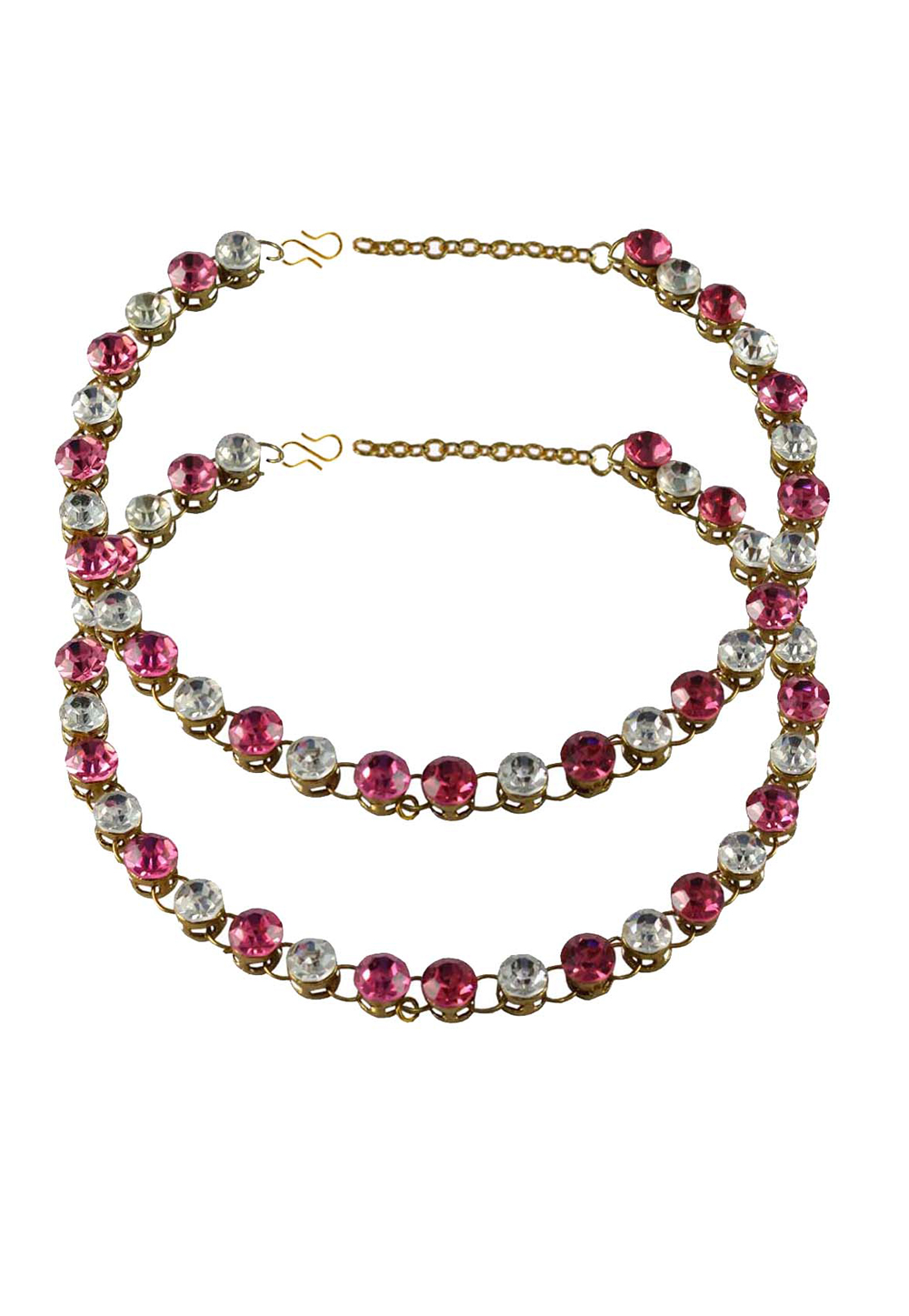 Pink Brass Gold Plated Anklets 171254