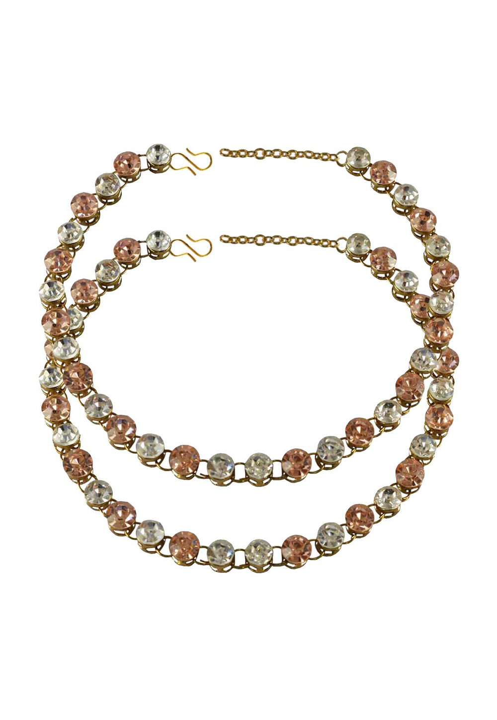 Peach Brass Gold Plated Anklets 171256