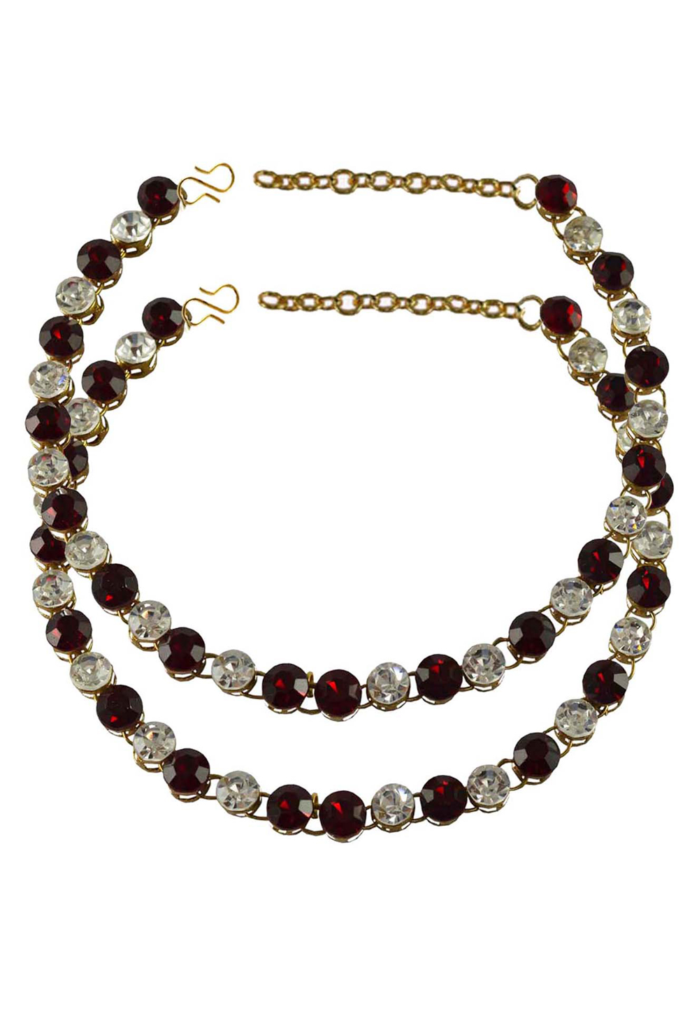 Maroon Brass Gold Plated Anklets 171258