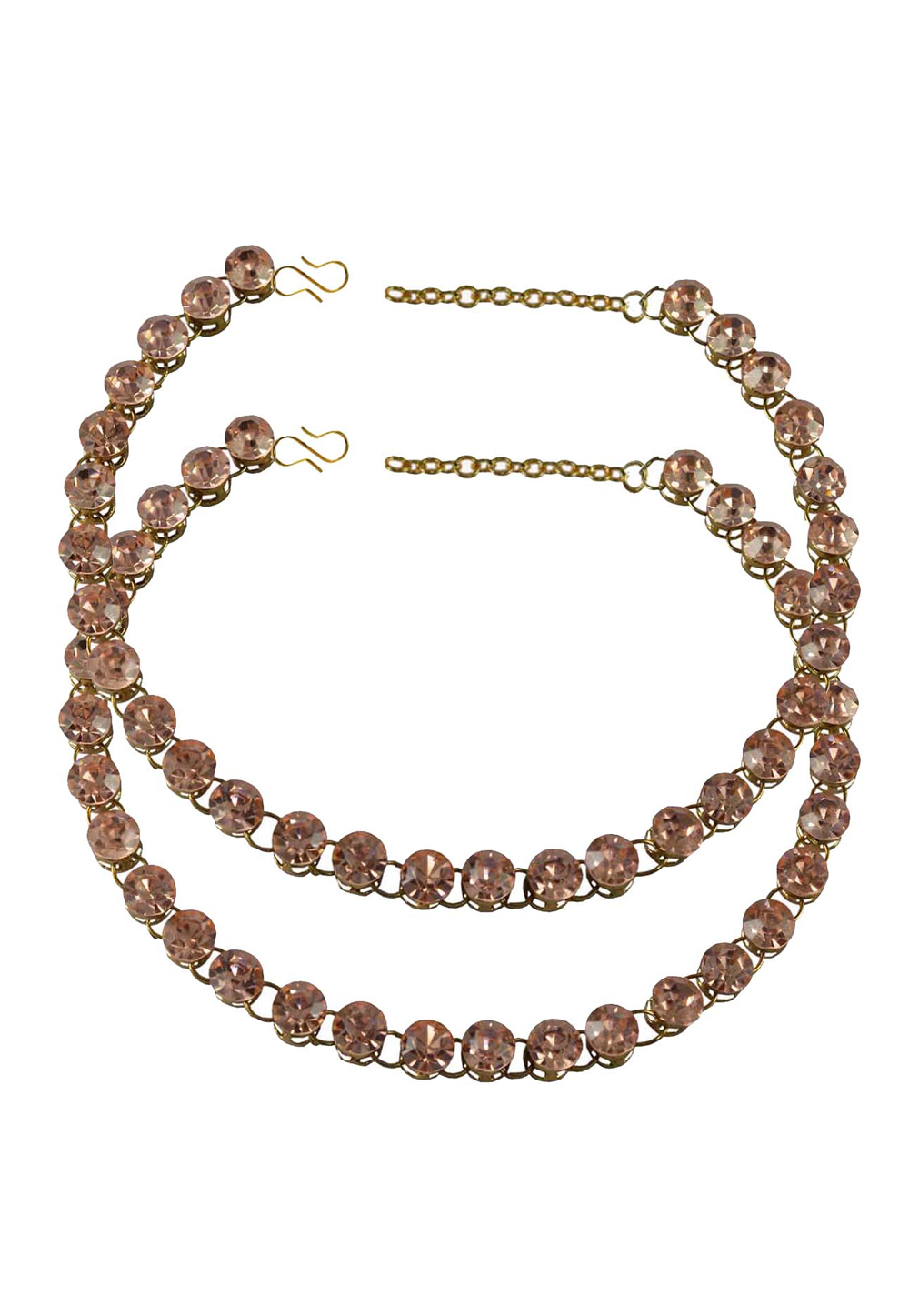 Shaded Pink Brass Gold Plated Anklets 171261