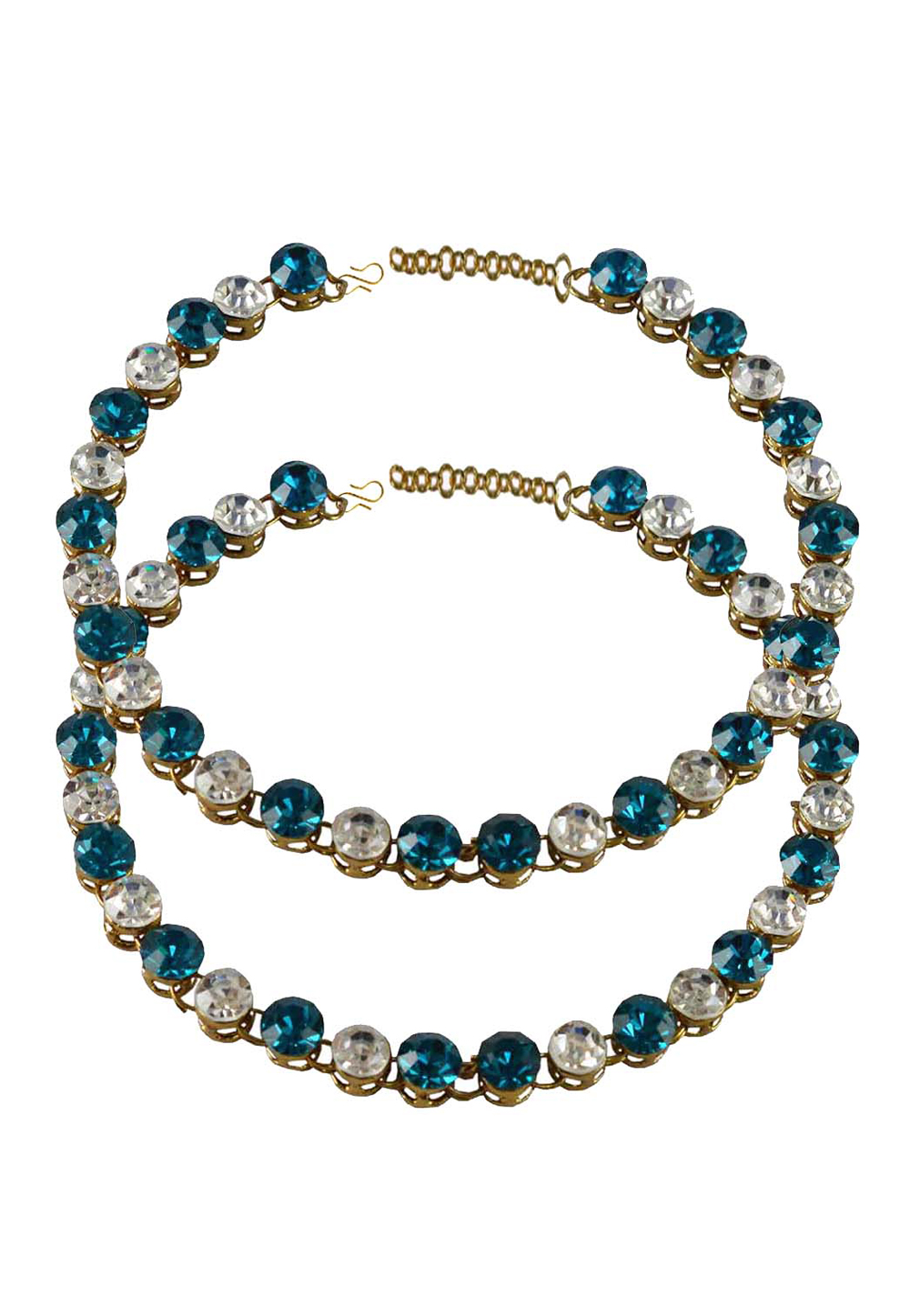Blue Brass Gold Plated Anklets 171262
