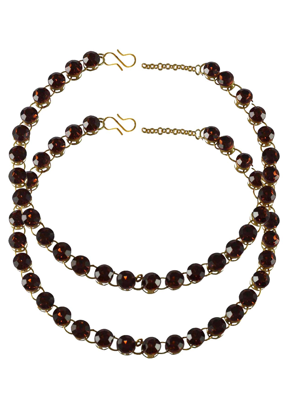 Maroon Brass Gold Plated Anklets 171263