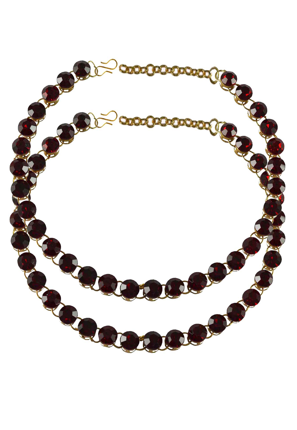 Maroon Brass Gold Plated Anklets 171264