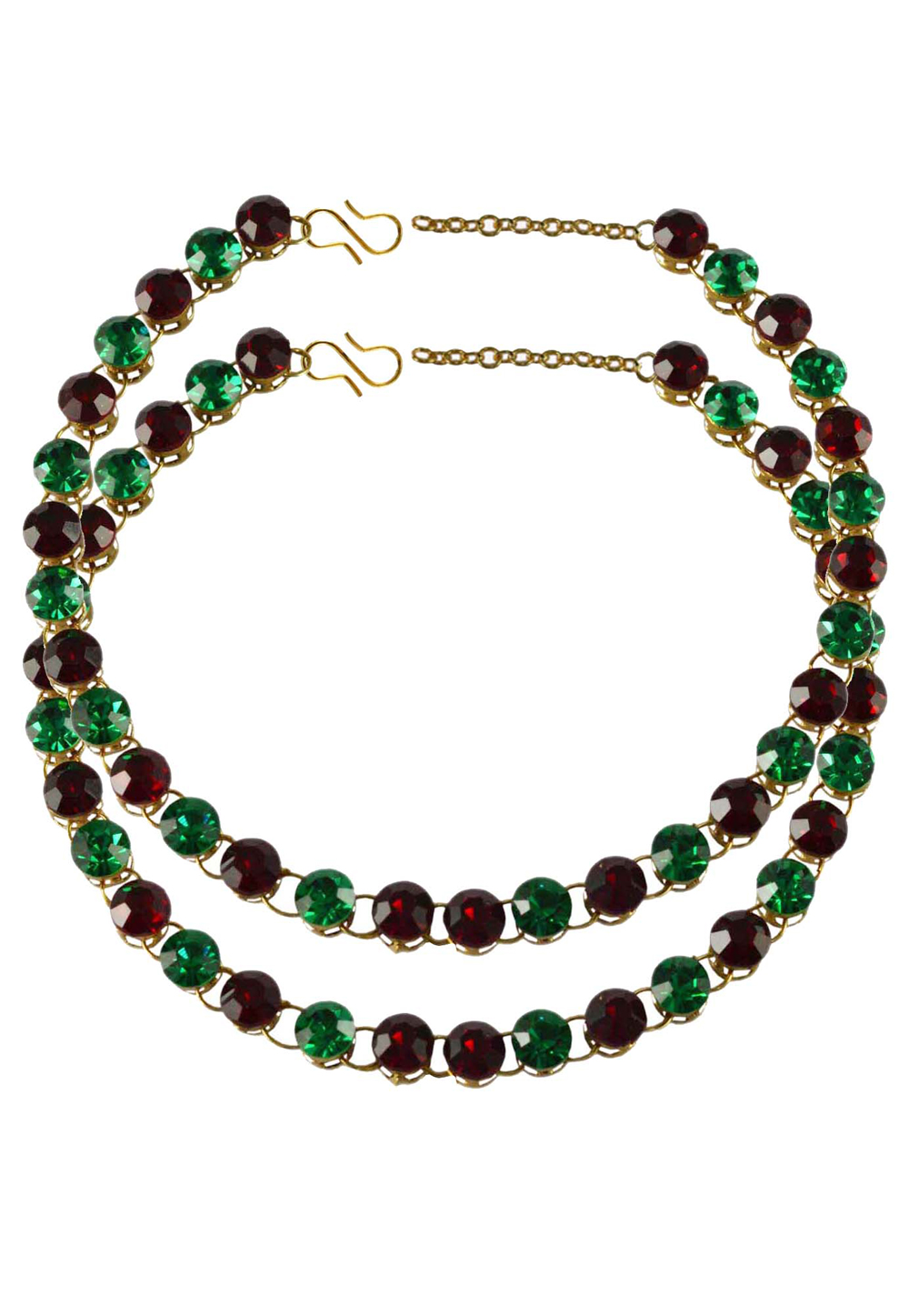 Green Brass Gold Plated Anklets 171268